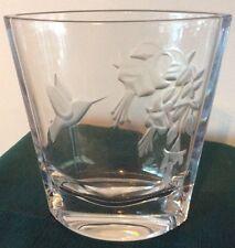 Etched Glass Hummingbird Vase  Lead Crystal Bohemian / Czech Art Glass