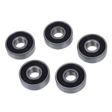 5 pzs Tono de plata y negro 608RS 8x22x7mm Cojinete de bolas de ranura profunda