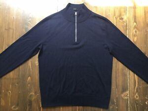 J. Crew Men's Blue Merino Wool Slim Fit Jumper With Half Zip Closure Size Large
