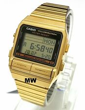 New Casio DB-380G-1D  DB380G Gold Tone Digital DataBank Data Bank Vintage Watch