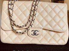 Chanel Tasche Timeless Beige Silber Hardware mit Rechnung