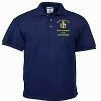 USS ENTERPRISE  CV-6  NAVY ANCHOR  EMBROIDERED LIGHT WEIGHT POLO SHIRT