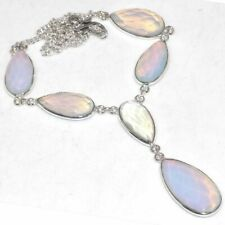 "Handmade Rainbow Opalite Jasper Gemstone 925 Sterling Silver Necklace 16"" N01643"