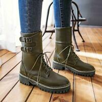Womens Fashion Punk Round Toe Lace Up Chunky Mid Heels Ankle Boots Plus Size