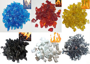 Yellow/Red/Black/White/Blue Fire Glass 1kg - Fire Pits Gas Fires/Ethanol Burn