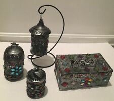 Set Of Antique Ornament Metal Tealight Candle Lantern Holders +Tissue Box Cover