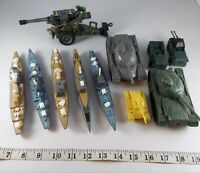 Lot of 11 Plastic Military Vehicles  Trucks Tanks Jeeps wheeled battle ships