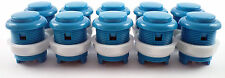 10 x 28mm Round Convex Curved Arcade Push Buttons & Microswitches (Blue) - MAME