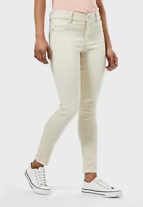 Dorothy Perkins Womens Ivory Petite Denim Jeans High Rise Skinny Pants RRP €30