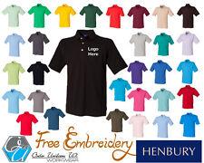 Embroidered Henbury Polo Shirt H100 Workwear Designer Personalised Quality Hotel
