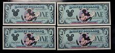 {BJSTAMPS} 1989 Disney Dollars $1 Mickey Mouse D Series 4 Consecutively # CU
