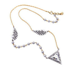 Modern Anthropologie Silver Aida Triangle Rhinestone Pearl Necklace