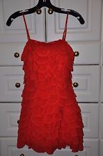 LEIFSDOTTIR Lipstick Red Silk Flutter Top  Convertible to Strapless  Size 0  EUC
