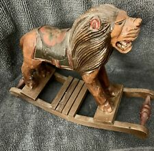 Antique Folk Art Carved Painted Circus Lion On Rocking Base Child's Toy