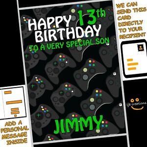 Personalised XBOX CONTROLLER Birthday Card Son Nephew Grandson Friend Boy Gamer
