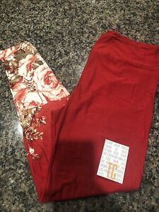 Lularoe TC Red Floral Dipped New Amore Valentine Leggings