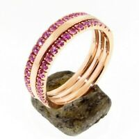 Half Eternity Pink Sapphire 1.60 mm Gold Ring Set Wedding band or Stacking ring