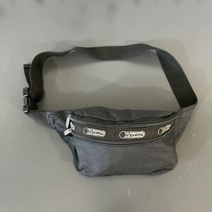 LeSportsac Black Fanny Pack Bum Waist Bag Money Belt Travel Double Zip Pouch USA