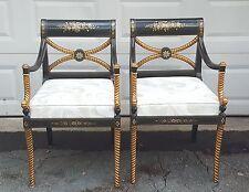 Pair Fournier Style Hollywood Regency Ebonized Parcel Gilt Carved Rope Leg Chair