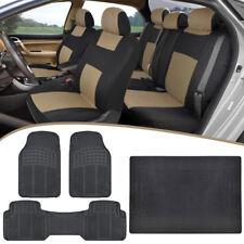 Full Set Split Bench Car Seat Covers + Rubber Floor Mats + Cargo Liner Beige