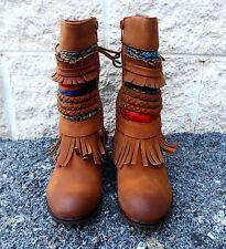 Pierre Dumas Kids Colorful Fringed calf boots Tan Zury 49947-420 pick size New