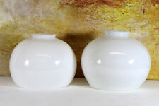 Two Antique Art Deco Opaline White Milk Glass Domed Lampshades