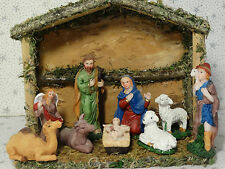 Small Nativity Christmas Wooden Manger Stable Barn Creche Figures Animals New )