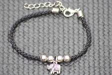 Elephant bracelet black cord vintage tibetan silver Friendship Good Luck