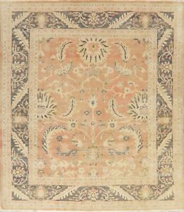 Antique VEGETABLE DYE Muted Oushak Turkish 9ft Square Area Rug Hand-Knotted Wool