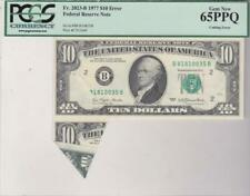 1977 $10 FRN Error Note PCGS GEM New 65 PPQ Cutting & Serial Printing Error
