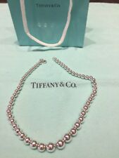 "Tiffany and Co. Sterling Silver Graduated Bead Necklace, 27.4 grams, 16"" Long"