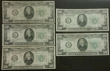 1934 1934A 1934B 1934C 1934D 5 $20 Bill FRN Note Lot Set Federal Reserve Notes
