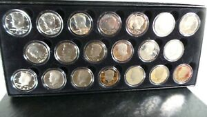 box of 20 Kennedy half dollar proofs coins