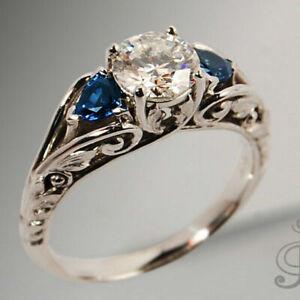 Fashion 925 Silver Ring Women Sapphire wedding Jewelry Anniversary Gifts Size 6