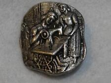 AMAZING LARGE PEWTER CAST METAL SEWING LADIES & TREADLE MACHINE PICTURE BUTTON