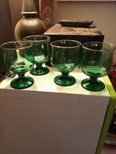 Set of 4 Green Glass with Gold Rim Brandy Goblets 1970's Drinkware VGC