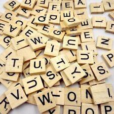 100 Wooden Scrabble Tiles Black Letters & Numbers For Kids Crafts Wood Alphabets