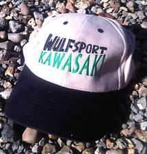 Wulfsport Wulf MX Kawasaki Baseball Cap Peak Hat Black/Beige Green Embroidery