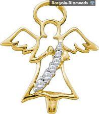 Guardian Angel Diamond 10K Gold Pendant .08-carats saint healing protection love