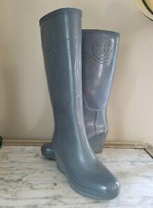 HUNTER Champery Women's Grey Tall  Wedge Rubber Rain Boots Size US 9 EUC