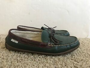 Women's L.L.BEAN Leather Loafer Slippers Shoes Hand Sewn Fleece Lined Size 9