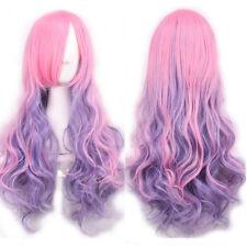 FR_ EG _Mode Femmes dégradé couleur Cosplay fête long cheveux bouclés