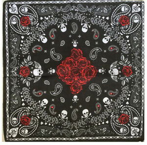 Black And Red Roses Flowers Rock Turban Bandana Scarf Headwrap Doo Rag Cotton