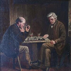 Gentlemen Playing Chequers Antique Oil Painting Victorian School British? c1890