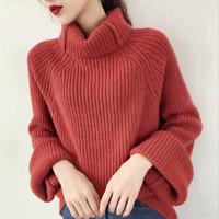 Women's Knitwear Turtleneck Sweater Loose Long Sleeve Pullover Jumper Baggy Tops