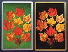 Pair of Vintage Swap/Playing Cards - AUTUMN LEAVES - Gold & Silver Borders