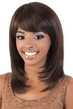 HELLOJF427  Ladies Medium dark brown Hair Wigs Cosplay Style Bangs Wig