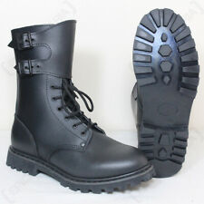 Black French Ranger Boots - Leather Combat Insulated Buckle Army Military New