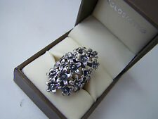 GORGEOUS STERLING SILVER OPENWORK FLOWERS BOUQUET RING VERY UNUSUAL RARE SIZE N
