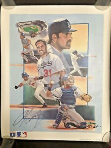 LA DODGER MIKE PIAZZA AUTOGRAPHED MLB CANVAS # LITHOGRAPH BY FRANK STAPLETON